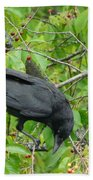 Raven In The Cherry Tree Bath Towel