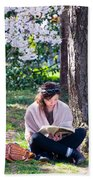 Reading Beneath The Cherry Blossoms Bath Towel