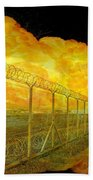 Realistic Orange Fire Explosion Behind Restricted Area Barbed Wire Fence Bath Towel