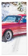 Red 1966 Ford Mustang Shelby Bath Towel