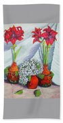 Red Amayrillis Bath Towel