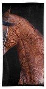 Red Ancient Horse No 01 Bath Towel