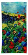 Red And Blue Poppies 56 Bath Towel