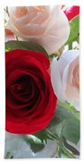 Red And Cream Tea Roses In Crystal Bath Towel