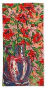 Red And Pink Poppies. Bath Towel