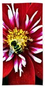 Red And White Flower With Bee Bath Towel