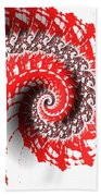 Red And White Fractal Bath Towel