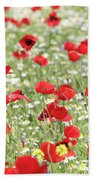 Red And White Wild Flowers Spring Scene Bath Towel