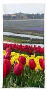 Red And Yellow Tulip Fields Bath Towel
