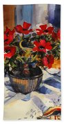 Red Anemones Bath Towel