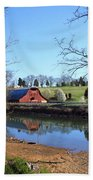 Red Barn And Pond Bath Towel