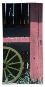 Red Barn And Wagon Wheel Bath Towel