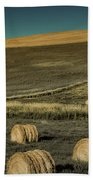 Red Barn At Haying Time Bath Towel