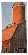 Red Barn At Sunset Bath Towel