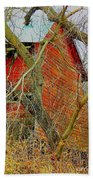 Red Barn Behind The Trees Hand Towel