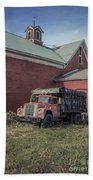Red Barn Red Truck Bath Towel