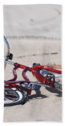 Red Bike On The Beach Hand Towel