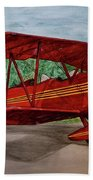 Red Biplane Hand Towel by Megan Cohen