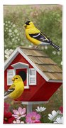 Red Birdhouse And Goldfinches Bath Towel by Crista Forest