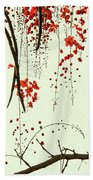 Red Blossom Tree On Handmade Paper Bath Towel