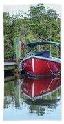 Red Boat Docked Florida Bath Towel