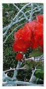 Red Bougainvillea Thorns Bath Sheet