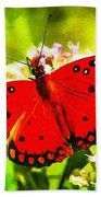 Red Butterfly Bath Towel