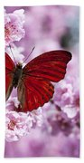 Red Butterfly On Plum  Blossom Branch Bath Towel