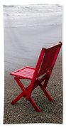 Red Chair On The Beach Bath Towel