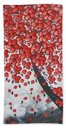Red Cherry Tree Bath Towel