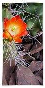 Red Claretcup Cactus Bath Towel