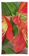 Red Clivias - Watercolor Hand Towel