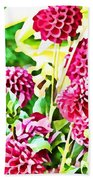 Red Dahlias Bath Towel