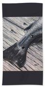 Red Fish Painted Black Bath Towel