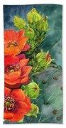 Red Flowering Prickly Pear Cactus Bath Towel