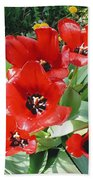 Red Flowers Bath Towel
