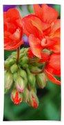Red Fresh Geraniums Bath Towel