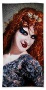 Red Hair, Gothic Mood. Model Sofia Metal Queen Bath Towel