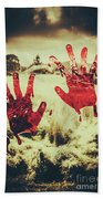 Red Handprints On Glass Of Windows Bath Towel