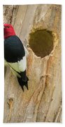 Red-headed Woodpecker At Home Bath Towel
