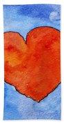 Red Heart On Blue Bath Towel