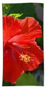 Red Hibiscus II Bath Towel