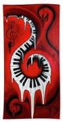 Red Hot - Swirling Piano Keys - Music In Motion Bath Towel