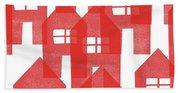 Red Houses- Art By Linda Woods Bath Towel