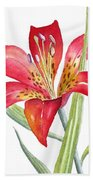 Red Lily Bath Towel