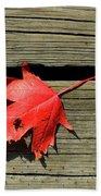 Red Maple Leaf On A Boardwalk  Bath Towel