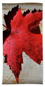 Red Maple Leaf With Burnt Edge Bath Towel