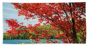 Red Maple On Lake Shore Bath Towel
