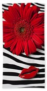 Red Mum And Red Lips Bath Towel