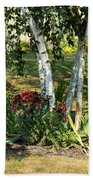 Red Mums And Birch Trees Bath Towel